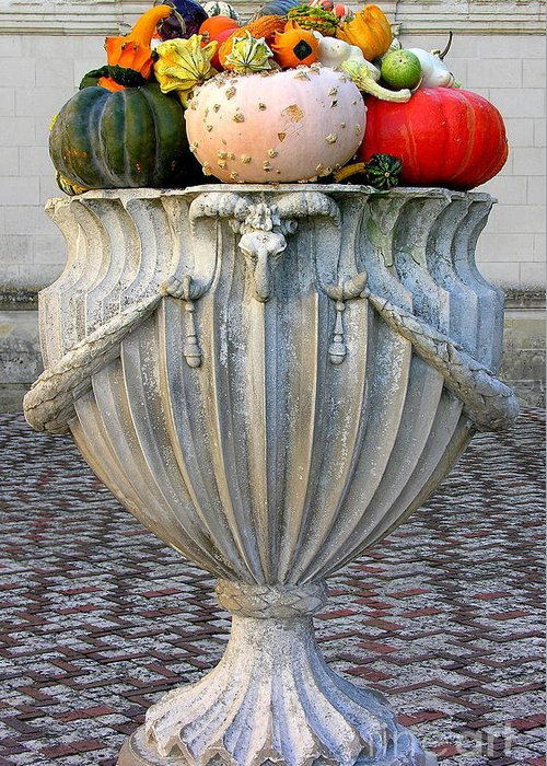 Chateau De Villandry Greeting Card featuring the photograph Autumn Harvest In Urn by Anne Gordon