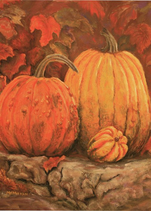 Landscape Greeting Card featuring the painting Autumn Harvest by Peggy McMahan