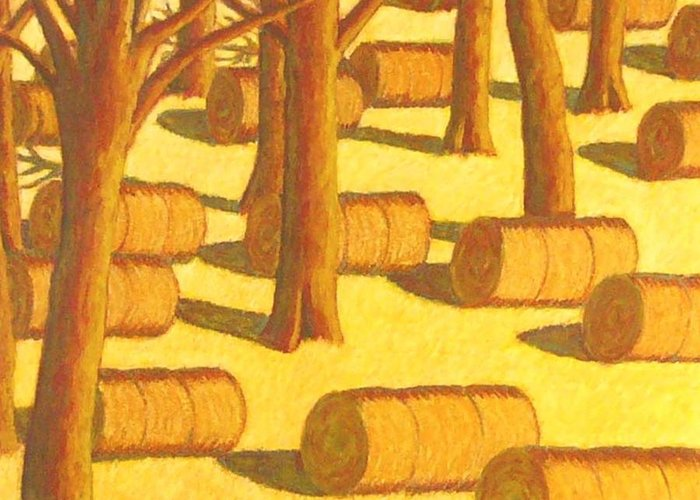 Haybales In Autumn Setting Greeting Card featuring the pastel Autumn Haybales by John Turner