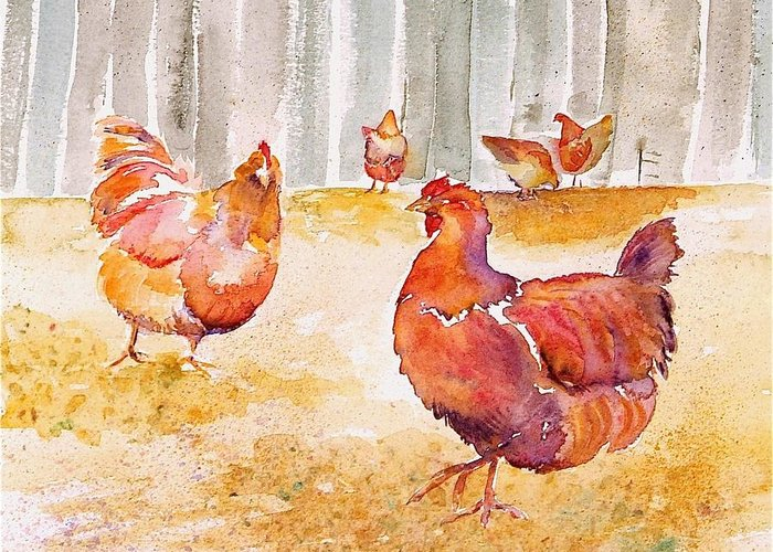 Hens Greeting Card featuring the painting Autumn Hens by Carolyn Doe