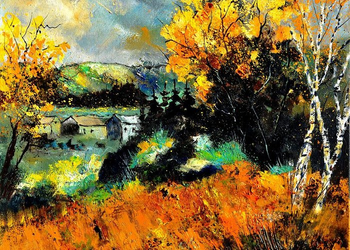 Landscape Greeting Card featuring the painting Autumn In Ardennes 672101 by Pol Ledent
