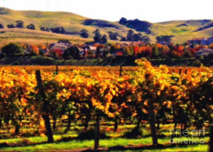 California Greeting Card featuring the photograph Autumn In The Valley 2 - Digital Painting by Carol Groenen