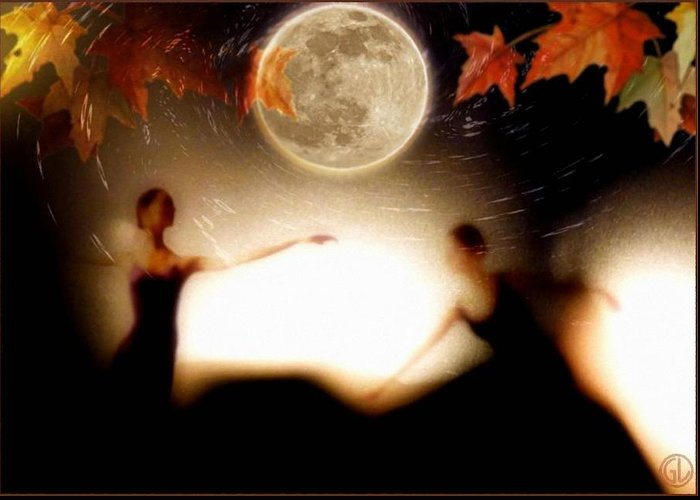 Landscape Greeting Card featuring the digital art Autumn Moon Dance by Gun Legler