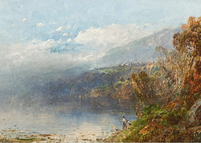 Autumn On The Androscoggin (oil On Canvas)fall; Seasons; Autumnal; River; North America; North American; Maine; New Hampshire; New England; Landscape; Mist; Misty; Wild; Wilderness; Remote; Male; Fisherman; Fishing; Solitary; Riverbank; Landscape Greeting Card featuring the painting Autumn On The Androscoggin by William Sonntag