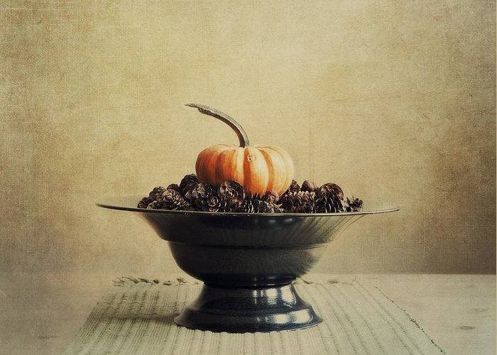 Bowl Greeting Card featuring the photograph Autumn by Priska Wettstein