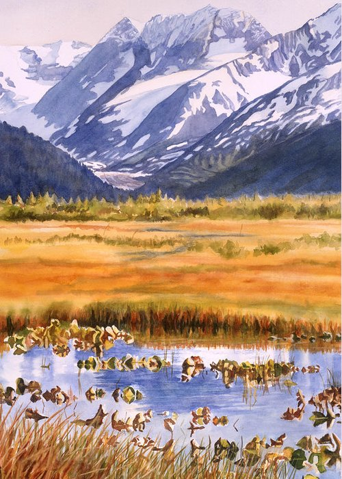 Alaska Greeting Card featuring the painting Autumn Reflections by Sharon Freeman