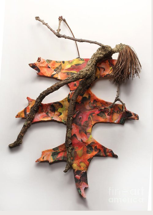 Art Greeting Card featuring the relief Autumn Release by Adam Long