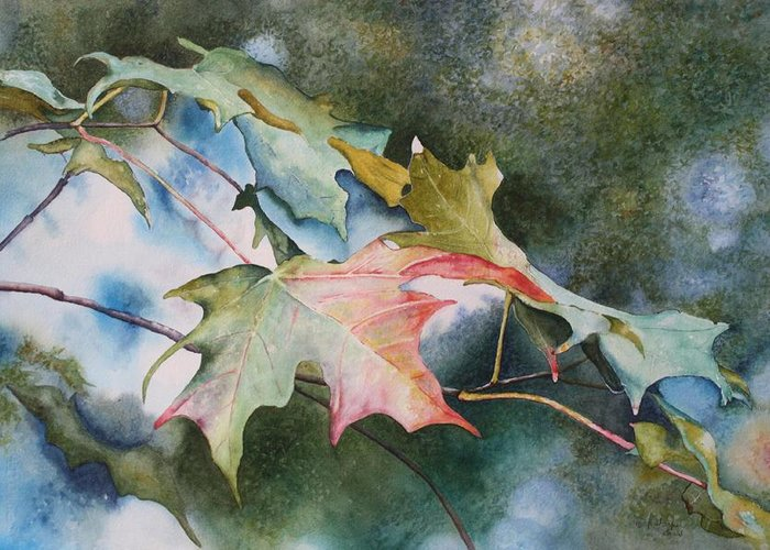 Close Focus Nature Scene Greeting Card featuring the painting Autumn Sparkle by Patsy Sharpe