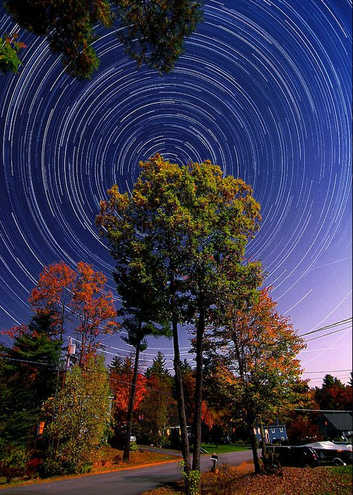 Star Trail Greeting Card featuring the photograph Autumn Star Trails In New Hampshire by Larry Landolfi