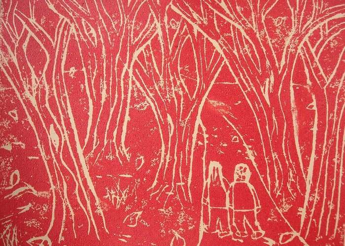Printmaking Autmn Walk Greeting Card featuring the relief Autumn Walk by Ward Smith
