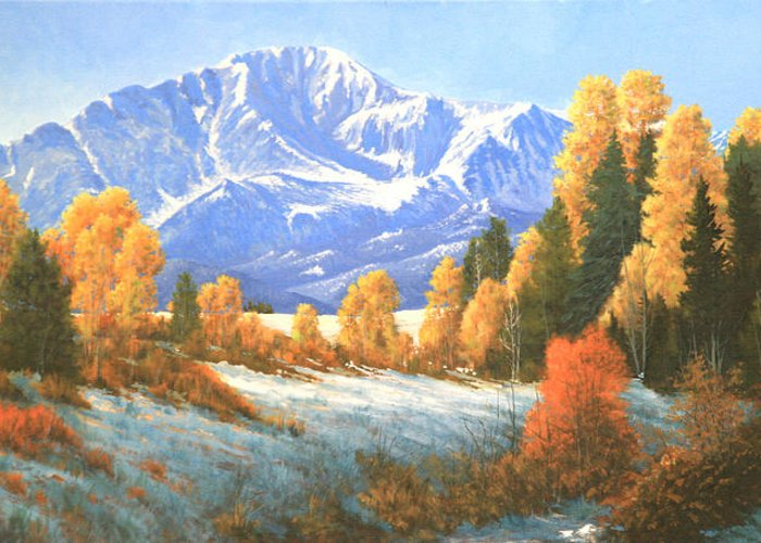Pikes Peak Greeting Card featuring the painting Autumn's Song - Pikes Peak 111119-1836 by Kenneth Shanika