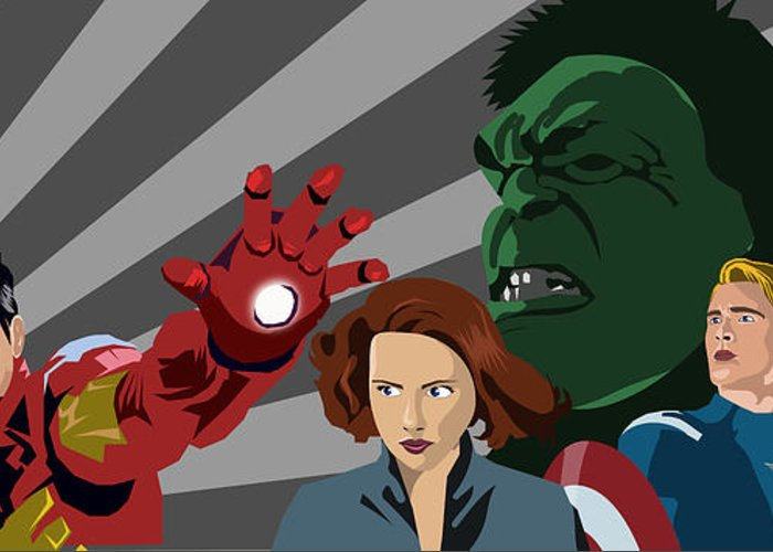 Avengers Greeting Card featuring the painting Avengers Assemble by Lisa Leeman