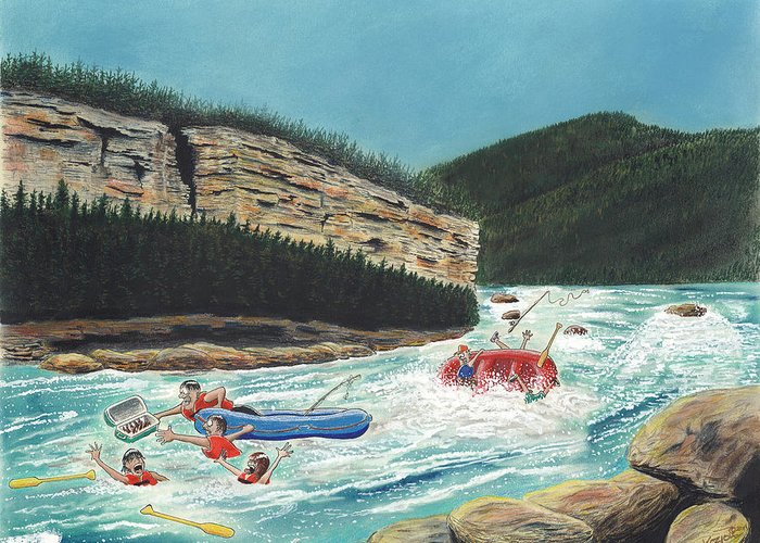 Remington Greeting Card featuring the pastel Averting Disaster by Tim Koziol
