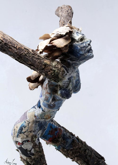 Nature Art Greeting Card featuring the sculpture Avian Dreams by Adam Long