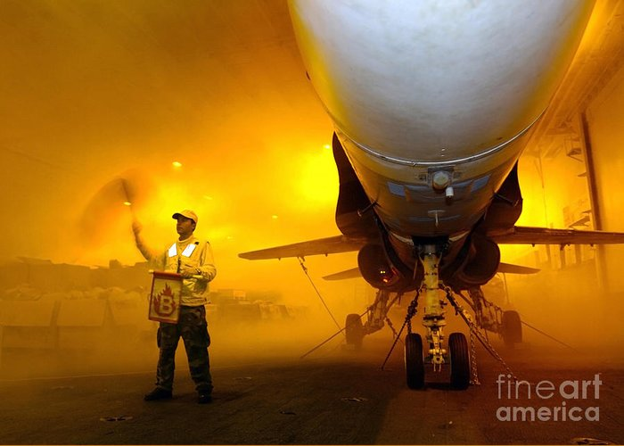 Horizontal Greeting Card featuring the photograph Aviation Boatswains Mate Waves Class by Stocktrek Images