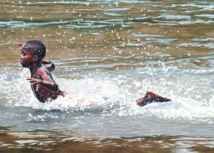 Boy Greeting Card featuring the painting Awesome Splash by Gregory Jules