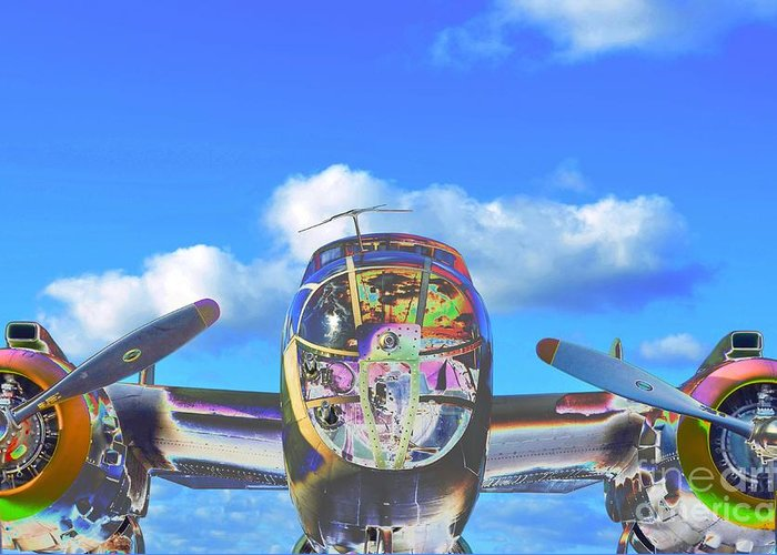 North American B-25j Mitchell Greeting Card featuring the photograph B-25j Jazzed by Lynda Dawson-Youngclaus