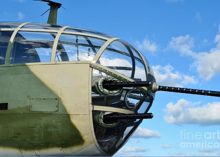 North American B-25j Mitchell Greeting Card featuring the photograph B-25j Nose by Lynda Dawson-Youngclaus