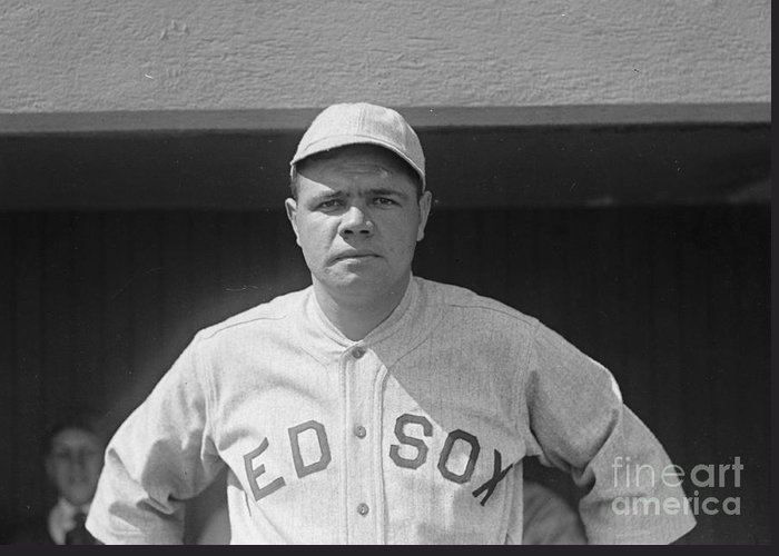 Babe Ruth 1919 Greeting Card featuring the photograph Babe Ruth 1919 by Padre Art