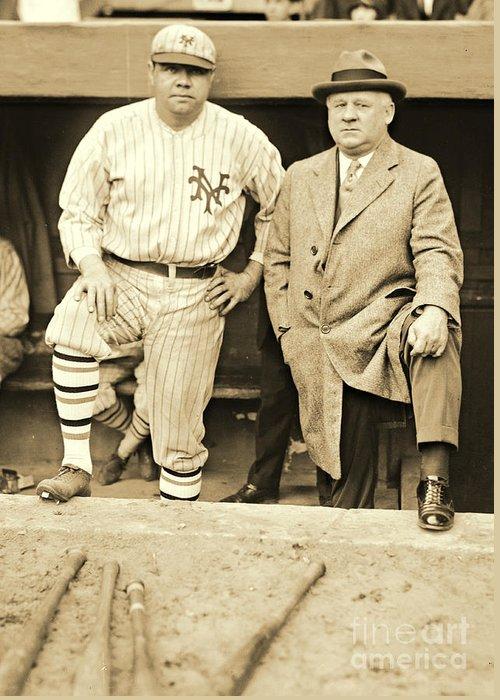 Babe Ruth And John Mcgraw 1923 Greeting Card featuring the photograph Babe Ruth And John Mcgraw 1923 by Padre Art