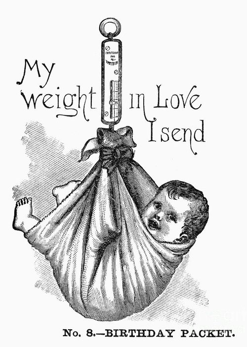 1887 Greeting Card featuring the photograph Baby Being Weighed, 1887 by Granger