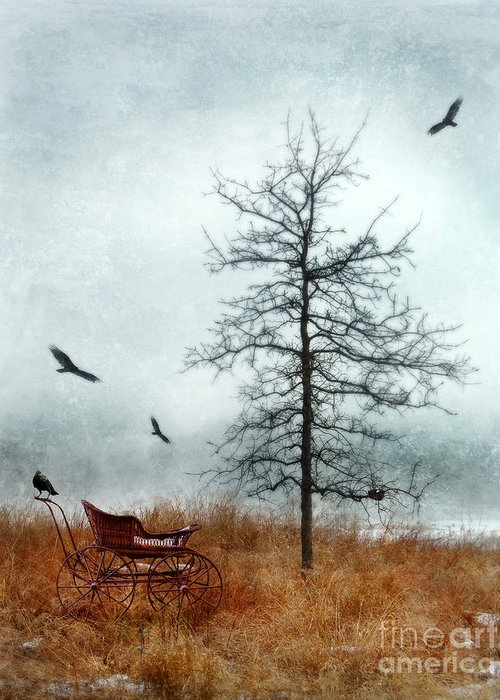Buggy Greeting Card featuring the photograph Baby Buggy By Tree With Nest And Birds by Jill Battaglia