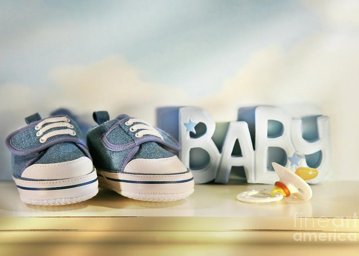 Baby Greeting Card featuring the photograph Baby Denim Shoes by Sandra Cunningham