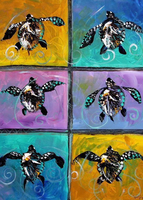 Sea Turtles Greeting Card featuring the painting Baby Sea Turtles Six by J Vincent Scarpace