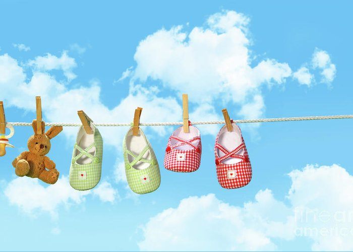 Air Greeting Card featuring the photograph Baby Shoesr And Teddy Bear On Clothline by Sandra Cunningham