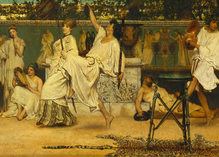 Bacchanal Greeting Card featuring the painting Bacchanal by Sir Lawrence Alma-Tadema