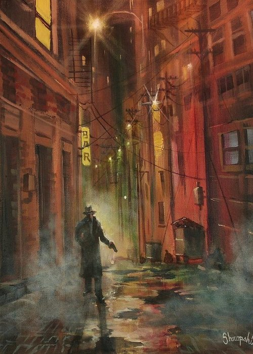 Art Noir Greeting Card featuring the painting Back Alley Justice by Tom Shropshire