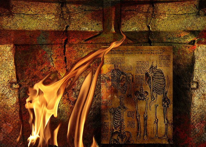 Surreal Greeting Card featuring the mixed media Back Bone #3 by Janet Kearns