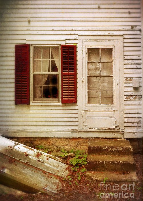 Back Greeting Card featuring the photograph Back Door Of Old Farmhouse by Jill Battaglia