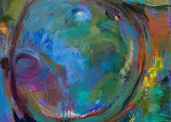Abstract Expressionistic Greeting Card featuring the painting Back To Forgotten Times by Johnathan Harris
