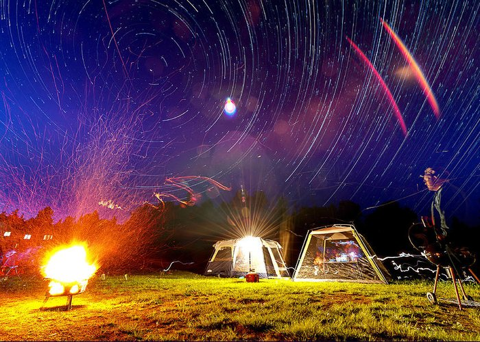 Fire Greeting Card featuring the photograph Back Yard Camping by Aaron Priest