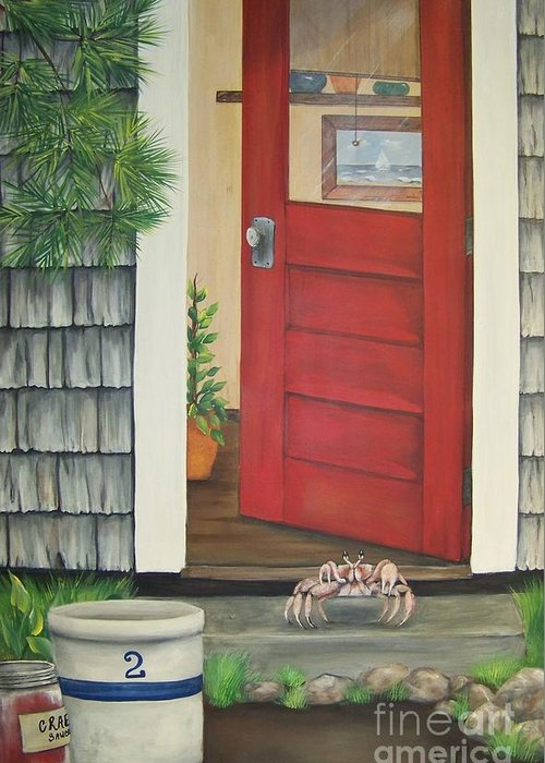 Crab Greeting Card featuring the painting Backdoor Visitors Three by Lin Ruch