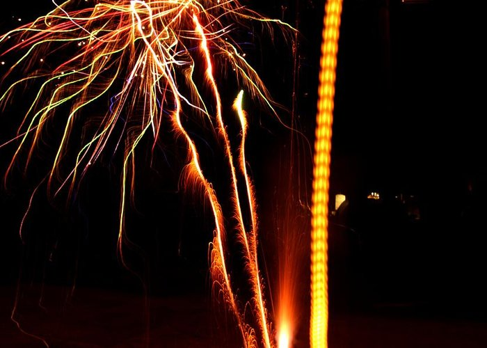 Fireworks Greeting Card featuring the photograph Backyard Fireworks 2012 1 by Robert Morin