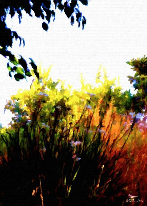 Nature Greeting Card featuring the painting Backyard Hues by Brian D Meredith