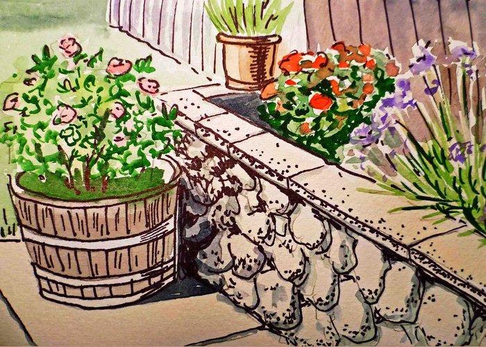 Flower Pot Greeting Card featuring the painting Backyard Sketchbook Project Down My Street by Irina Sztukowski