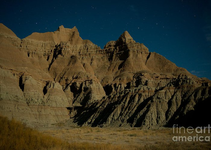 Badlands National Park Greeting Card featuring the photograph Badlands Moonlight by Chris Brewington Photography LLC