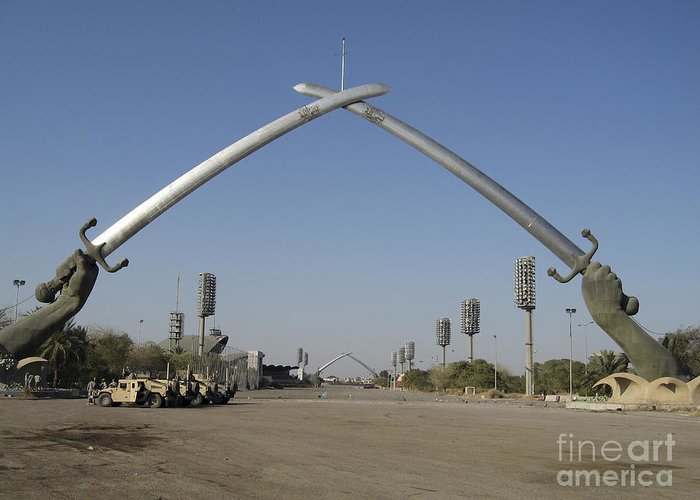 Arms Greeting Card featuring the photograph Baghdad, Iraq - Hands Of Victory by Terry Moore