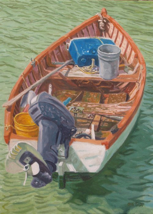 Bermuda Greeting Card featuring the painting Bailey's Bay Fishing Dinghy by Otto Trott