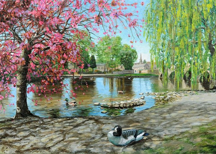 Duck; Blossom; Scenic; Peak District; Lake; Ducks; Animals; Blossom Tree; Tree; Trees; Houses; Bridge; Bakewell Bridge; Derbyshire; Water; Stones Greeting Card featuring the painting Bakewell Bridge - Derbyshire by Trevor Neal