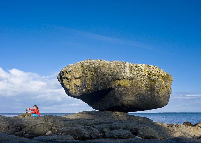 Balance Rock Greeting Card featuring the photograph Balance Rock, British Columbia by David Nunuk