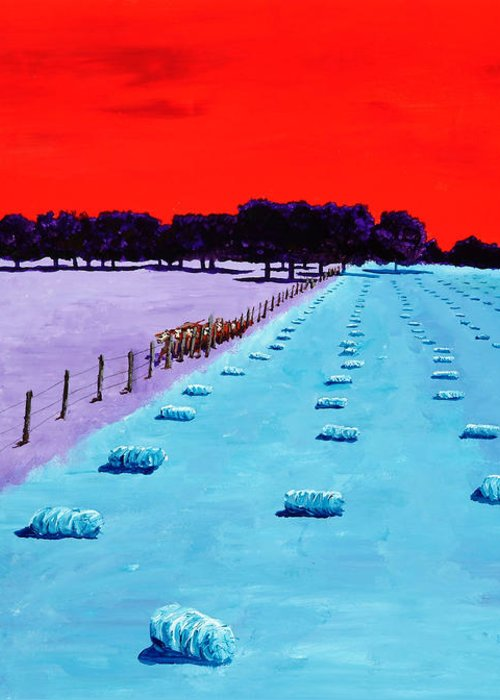 Landscape Greeting Card featuring the painting Baled Hay by Randall Weidner