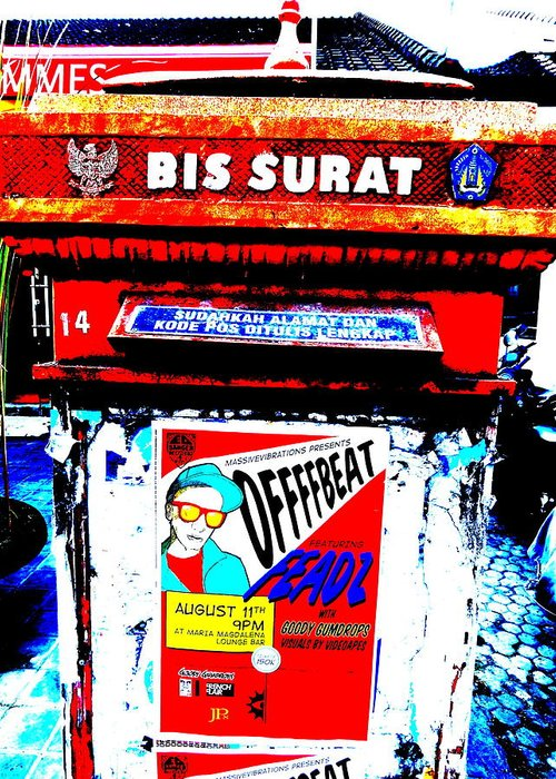 Bali Greeting Card featuring the photograph Bali Graffitied Funky Postbox by Funkpix Photo Hunter