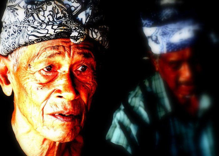 Bali Greeting Card featuring the photograph Balinese Old Man by Funkpix Photo Hunter