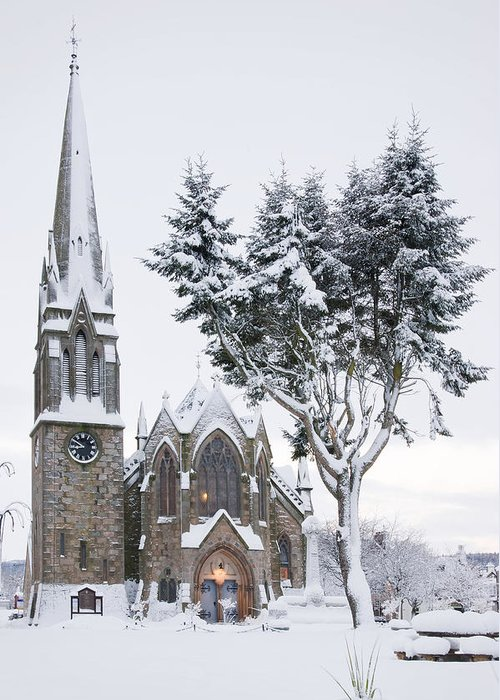 Ballater Greeting Card featuring the photograph Ballater Church In Snow by Howard Kennedy