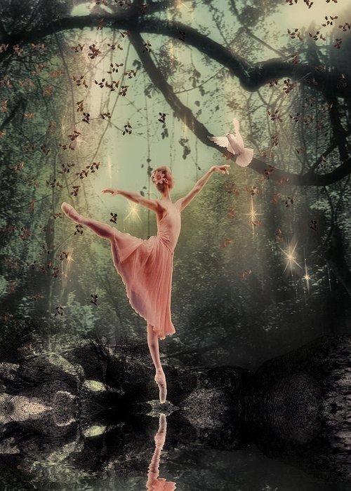 Fantasy Greeting Card featuring the digital art Ballerina by Lee-Anne Rafferty-Evans