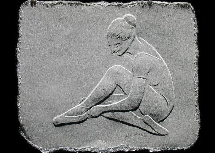 Ballet Dancers Greeting Card featuring the relief Ballet Dancer by Suhas Tavkar